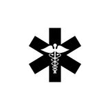 Caduceus solid icon, Medicine and health sign. Vector graphics, filled pattern on a white background, eps 10 Stock Photography