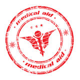 Caduceus stamp. Abstract red grunge rubber office stamp with caduceus symbol in the middle and the text medical aid written around the stamp vector illustration