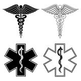 Caduceus and Star of Life Royalty Free Stock Images
