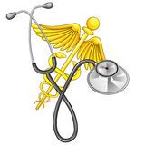 Caduceus and stethoscope Stock Images