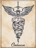 Caduceus symbol of god Mercury illustration. Royalty Free Stock Photo