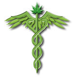 Caduceus van de marihuana Stock Fotografie