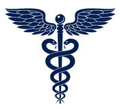 Caduceus. Vector illustration of blue Caduceus medical symbol stock illustration