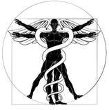 Caduceus Vitruvian Man. Caduceus medical sign with Vitruvian man figure like Leonard Da Vinci drawing vector illustration