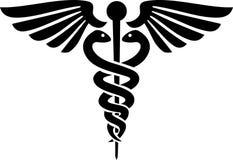 Caduceusläkarundersökningsymbol Arkivfoto