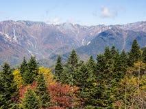 Caduta in anticipo in alpi giapponesi - viste dal ropeway di Shin-Hotaka Fotografia Stock