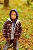 Caduta in anticipo Bambino piccolo nella caduta Piccolo bambino in attrezzatura casuale all'aperto Ragazzo adorabile in maglia co fotografie stock