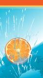 Caduta arancione della fetta dentro ad acqua Immagine Stock Libera da Diritti