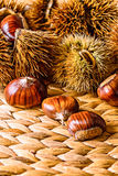 Caduta Autumn Raw Food: Castagne Fotografia Stock