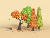 caduta/autunno bassi dell'albero del fumetto del parco naturale della rappresentazione 3d poli royalty illustrazione gratis