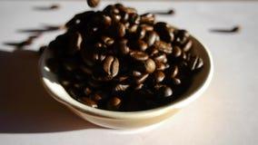 Caduta dei chicchi di caffè archivi video