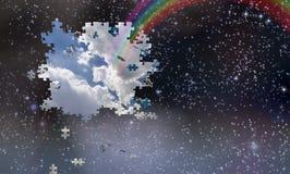 Caduta dei pezzi di puzzle da cielo notturno Immagini Stock