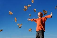 caduta del bambino di autunno felice Immagine Stock Libera da Diritti