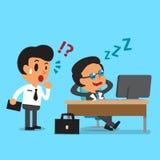 Caduta del capo di affari del fumetto addormentata alla sua scrivania Fotografia Stock Libera da Diritti
