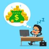 Caduta del capo di affari del fumetto addormentata e sognare dei soldi Immagine Stock