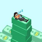 Caduta del capo di affari del fumetto addormentata sulle pile dei soldi Immagini Stock
