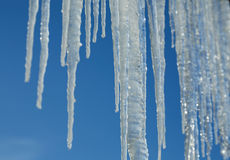 Caduta del cielo del ghiaccio di inverno dei ghiaccioli Fotografia Stock Libera da Diritti