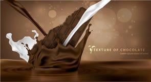 Caduta del cioccolato della barra del cioccolato zuccherato Immagine Stock