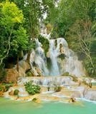 Caduta dell'acqua di si di Kuang nel prabang di Luang, Laos Fotografia Stock Libera da Diritti