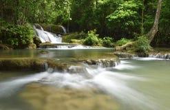 Caduta dell'acqua in foresta profonda Fotografia Stock