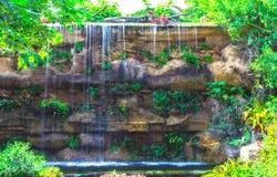 caduta dell'acqua nei precedenti della natura del giardino Fotografie Stock