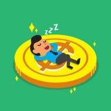 Caduta dell'uomo d'affari del fumetto addormentata su una moneta grande Immagini Stock