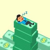 Caduta dell'uomo d'affari del fumetto addormentata sulle pile dei soldi Fotografia Stock