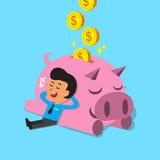 Caduta dell'uomo del fumetto addormentata con il porcellino rosa Immagini Stock Libere da Diritti