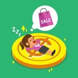 Caduta della donna di affari del fumetto addormentata su una moneta e su un sogno grandi circa acquisto Fotografie Stock Libere da Diritti