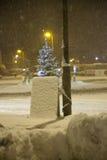 Caduta della neve pesante su un segno Fotografie Stock