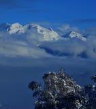 Caduta della neve sulle alpi svizzere Fotografie Stock