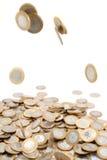 Caduta delle monete Fotografie Stock