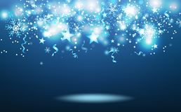 Caduta delle stelle cadenti, stagione invernale, coriandoli di scoppio delle stelle, fiocchi di neve e nastri magici blu, celebra illustrazione vettoriale