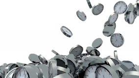 Caduta di molti orologi su fondo bianco royalty illustrazione gratis