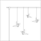 Caduta di origami dell'uccello sulla barra culla del ` s di Newton del modello Fotografia Stock