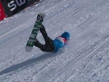 Caduta di snowboard rotta Fotografie Stock Libere da Diritti