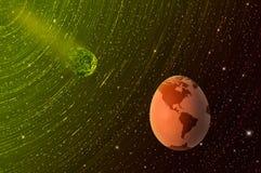 Caduta di un meteorite il nostro pianeta Terra fragile fantasia o minaccia reale? illustrazione vettoriale