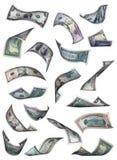 Caduta differente delle fatture del dollaro Immagini Stock Libere da Diritti