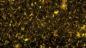 Caduta dorata dei coriandoli su fondo nero illustrazione 3D immagine stock