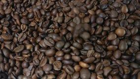 Caduta e chicchi di caffè arrostiti rotazione video d archivio