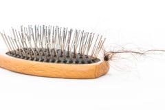 Caduta e spazzola dei capelli Immagine Stock