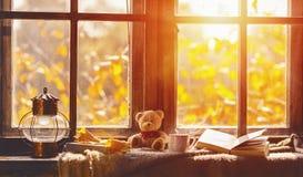 Caduta finestra accogliente con le foglie di autunno, libro, tazza di tè Immagini Stock