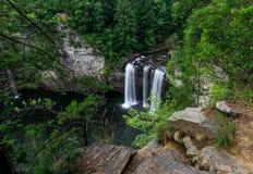 Caduta lunga dell'acqua di esposizione nel canone verde fertile della foresta Fotografie Stock Libere da Diritti