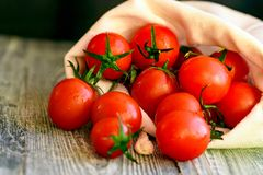 Caduta matura rossa dei pomodori dal sacco Vista rustica Fotografia Stock Libera da Diritti