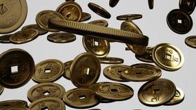 Caduta monete della porcellana stock footage