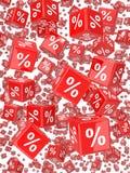 caduta rossa dei dadi di percentuale 3d Immagine Stock Libera da Diritti