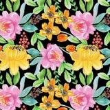 Caduta senza cuciture del fiore dell'acquerello del modello illustrazione di stock