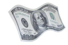 Caduta una nota dei 100 dollari Fotografie Stock Libere da Diritti