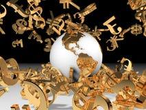 Cadute dei soldi e del mondo Fotografie Stock Libere da Diritti