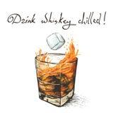Cadute di ghiaccio in whiskey illustrazione vettoriale